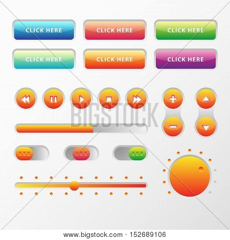 Web UI UX Music Elements Design set: Buttons, Switchers, Slider, loader on light background. Audio bar interface. Player buttons. Ui Ux music interface. Cicrle style buttons. Music controls