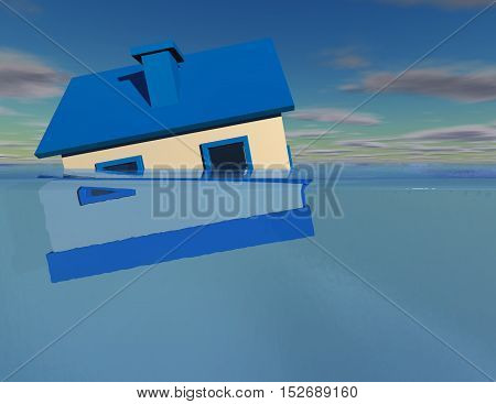 House under water 3D illustration flood and debt concept.