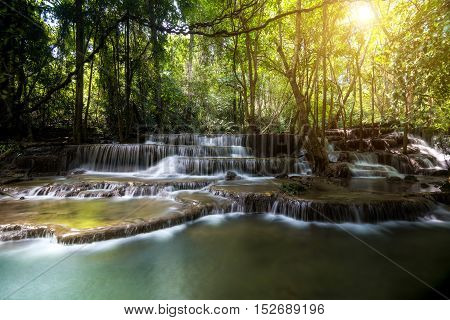 Dong Pee Sua Waterfall Huay Mae Khamin 4th waterfall in Kanchanaburi Thailand