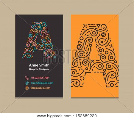 A Letter Logo Corporate Business card. Vector design.