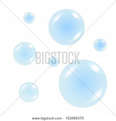 Euro in the air bubbles on a blue background. Vector illustration