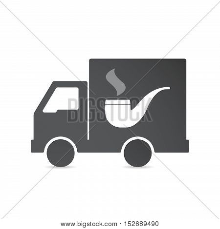 Isolated Delivery Truck With A Smoking Pipe