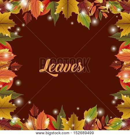 Leaves frame icon. Thanksgiving and autumn season theme. Colorful design. Vector illustration