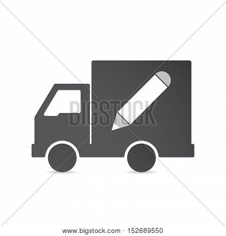Isolated Delivery Truck With A Pencil