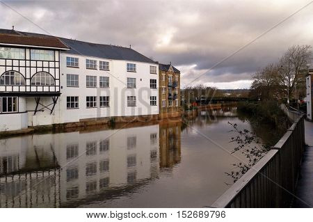 Taunton and  the river Tone gray and peaceful day