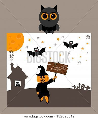 Owl is holding postcard.Modern flat design.Pumpkin, bat, moon and inscription happy Halloween.
