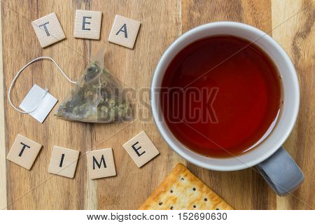 Tea time background on wood picture concept