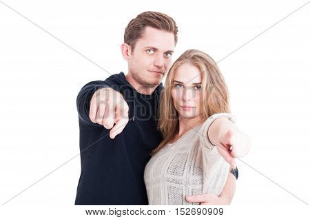 Handsome Couple Posing As Pointing Camera
