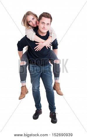 Full Body Of Handsome Couple Posing As Being Joyful