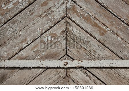 Obsolete wooden planks with metal plate across background