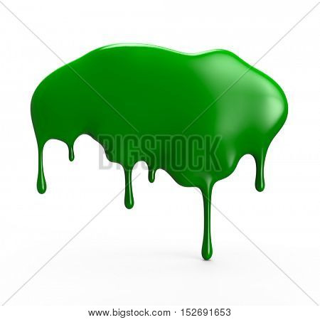 Green paint dripping isolated over white background. 3D