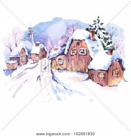 Cozy countryside watercolor winter landscape. Fairytale winter watercolor illustration. Vintage hand painted card with old houses