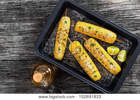 Grilled Corn In Roasting Dish, View From Above