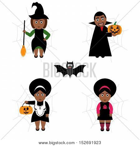 Vector set of Halloween in cartoon style.Dark-skinned people in holiday costumes. Modern flat design