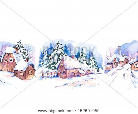 Winter countryside watercolor seamless border. Fairytale winter watercolor illustration. Vintage hand painted landscape card with old houses.