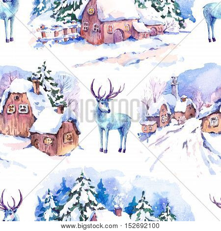 Winter countryside watercolor seamless background. Fairytale winter watercolor illustration. Vintage hand painted landscape card with old houses and deer.