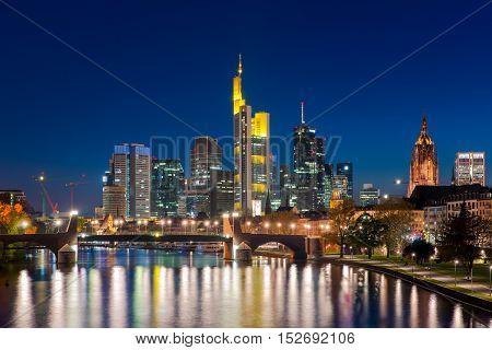 City of Frankfurt am Main skyline at night Frankfurt Germany.