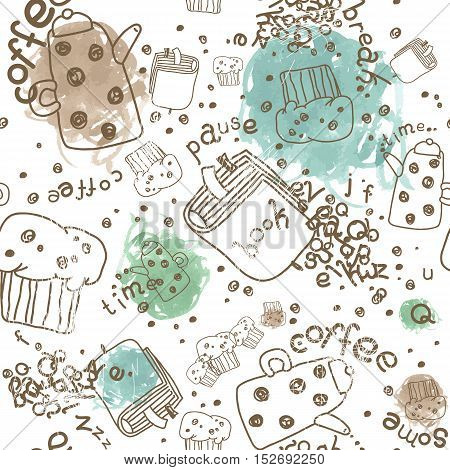 Seamless Vector Pattern with Coffee Pots, Muffins and Books and Watercolor Scribbles Spots. Isolated on White.