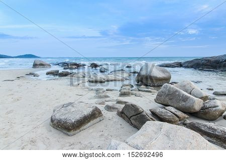 Pile of rock on Mae Rumphueng Beach in Rayong Thailand