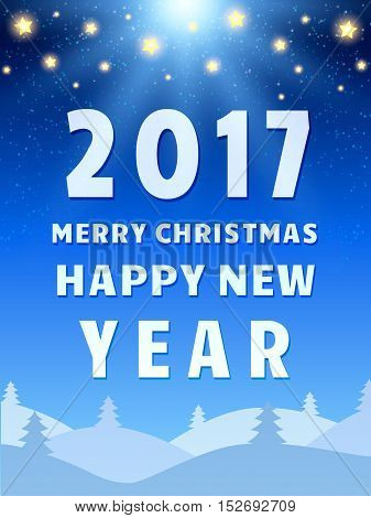 Happy 2017 New Year Design Template With Shining Sky, Moon And Coniferous Forest