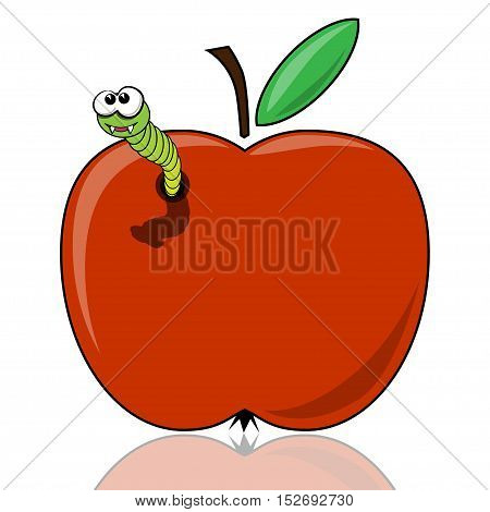 Illustration of a worm in the apple as a symbol of organic food.
