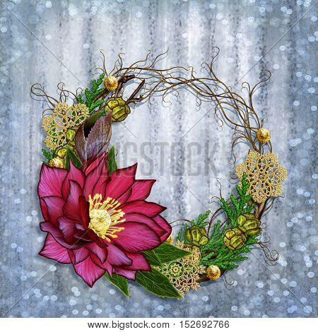 Christmas composition wreath. Weaving thin branches red flower hellebore arborvitae branches green leaves pine cones golden snowflakes.