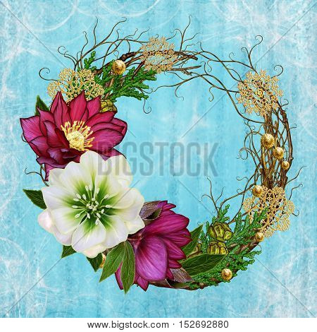 Christmas composition wreath. Weaving thin branches red white flower hellebore arborvitae branches green leaves pine cones golden snowflakes.