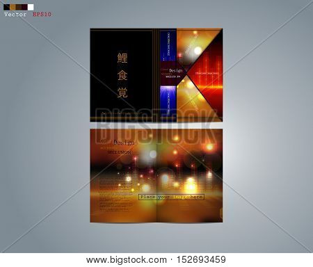 Business design of the brochure white-blue-gold ornament the image of the equalizer for business.