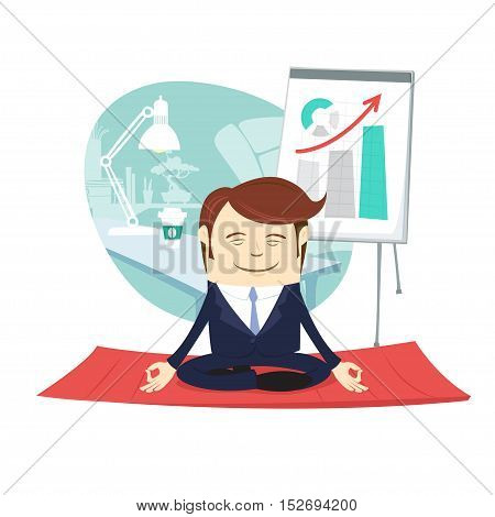 Funny Business Man Wearing Suit Doing Yoga Meditating Pose Lotus In Front His Office Workplace. Flip