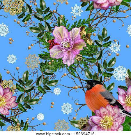 Pattern seamless. Bright bird bullfinch weaving from twigs pine needles arborvitae flower hellebore gold snowflakes ornaments Christmas background.