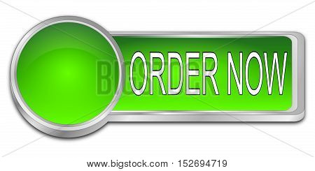 glossy green Order now dash Button - 3D illustration