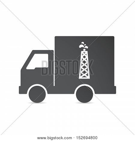 Isolated Delivery Truck With An Oil Tower