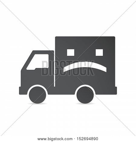 Isolated Delivery Truck With A Sad Text Face