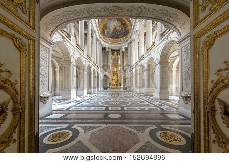 Versailles France - May 72016 : Great Hall Ballroom in Versaille Palace. Versaille Palace and surrounding gardens is are on the UNESCO World Heritage List in Paris France
