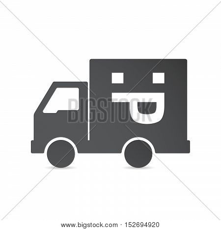 Isolated Delivery Truck With A Sticking Out Tongue Text Face