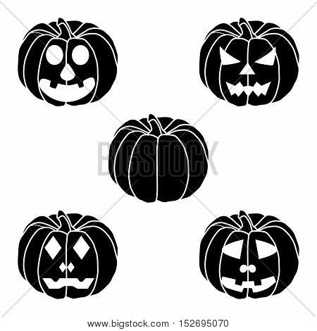 Vector illustration of logo for yellow pumpkin halloween