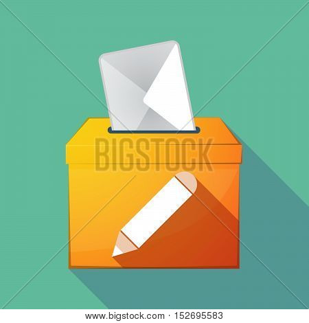 Long Shadow Ballot Box With A Pencil