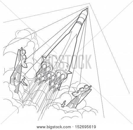 Rocket start whith smoke. line illustration. isolated on white.