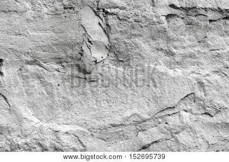 Texture, Background. A Wall Lined With Stone, Whitewashed