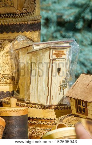 Texture, Background. Handicrafts Made Of Birch Bark. On The Product It Is Written: Honey, Sugar, Flo