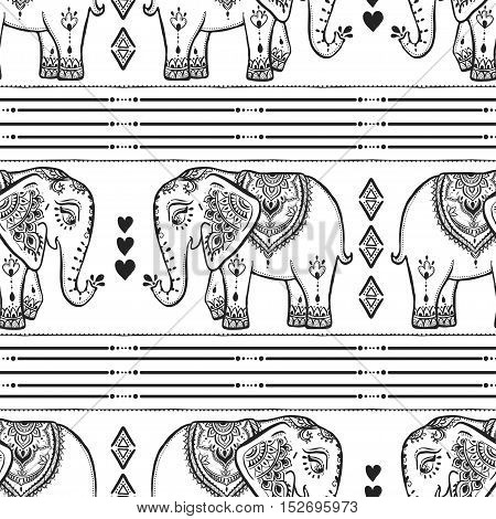 Pattern with baby elephant made in vector. Color illustration