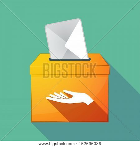 Long Shadow Ballot Box With A Hand Offering