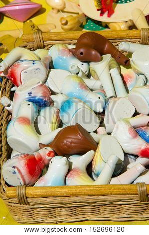 Childish Clay Whistles. A Clear, High-pitched Sound Made By Forcing Breath Through A Small Hole Betw