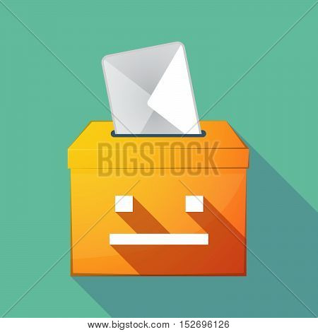 Long Shadow Ballot Box With A Emotionless Text Face