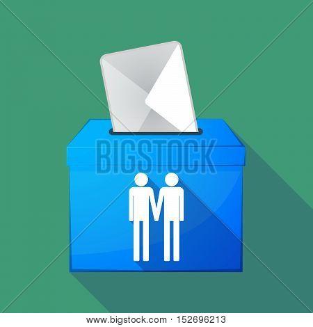 Long Shadow Ballot Box With A Gay Couple Pictogram