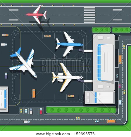 Airport top view. Modern passenger terminal aircraft. Infrastructure of a large airport with hangars for aircraft landing pad. Building of passenger terminal and parking for cars. Vector illustration