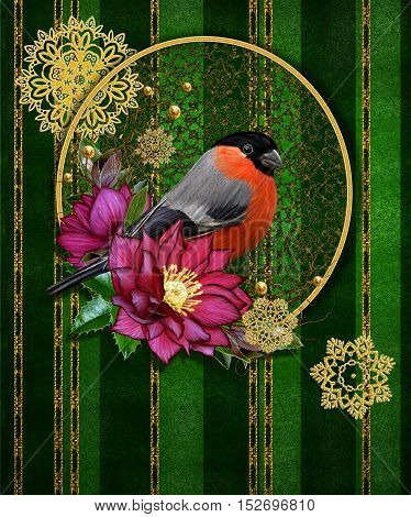 Christmas greeting card. Bright bird bullfinch red flowers hellebore weaving from twigs gold snowflakes ornaments garland. Dark green background and shining gold stripes. Vintage old style.