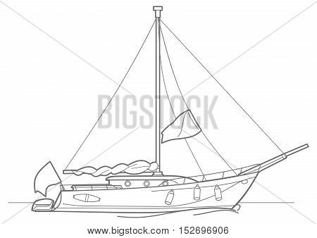 Outline sailing ship yachts with. Luxury boats. illustration
