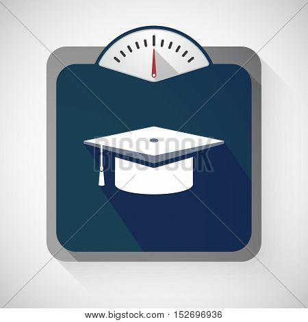 Isolated Long Shadow Body Weight Scale With A Graduation Cap