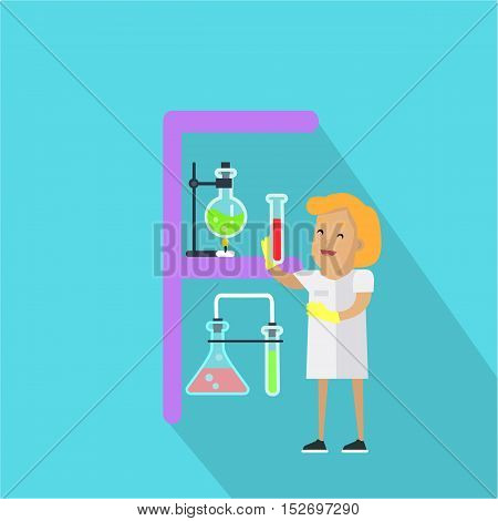 F letter and scientist with chemical flasks. Human characters in white gowns with scientific equipment. Alphabet series with people. Chemistry and chemical equipment. Educational concept. ABC vector
